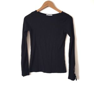 ZARA Black Ribbed Lace Up Sleeves Sweater SZ S